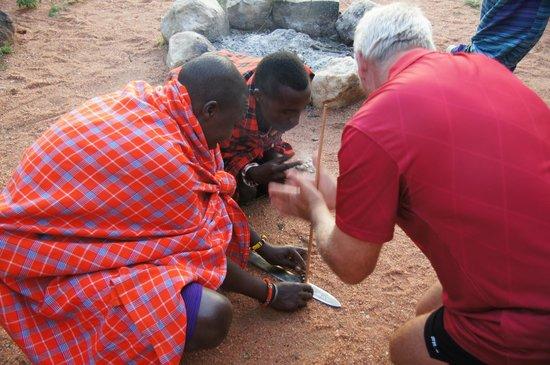Eyes on Africa Safaris: Fire making at Maji Moto