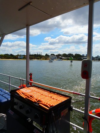 Surfers Paradise River Cruises: The snags cooking for lunch.