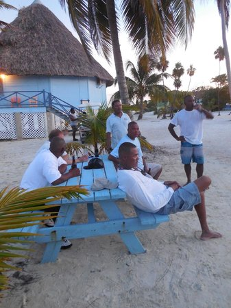 Blackbird Caye Resort: Staff and crew relaxing after a busy day