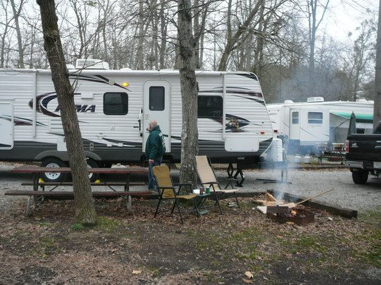 Point Mallard Waterpark: campfire area at individual campsite