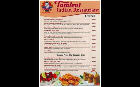 Tamleni Indian Restaurant Penrith Menu