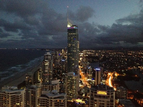 Hilton Surfers Paradise: View from room at night.