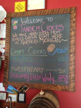 Tandem Cider : Chalk menu