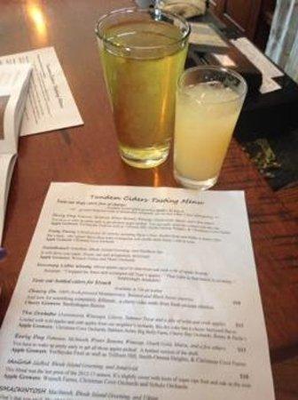 Tandem Cider : Menu and a cider plus a cider mixed drink