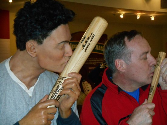 Louisville Slugger Museum & Factory : Ted Williams and me kissing our bats