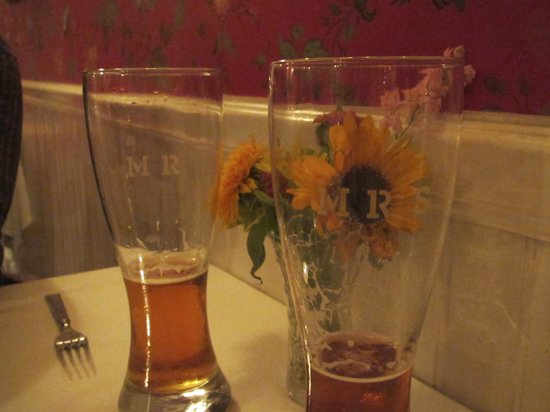 The Inn at Weston: Mr. & Mrs. toasting beer glasses we brought