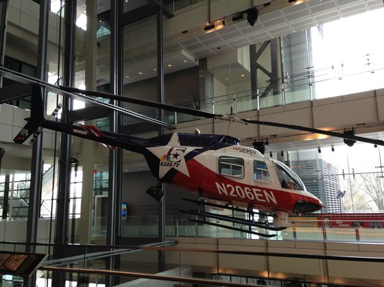 Newseum: News helicopter suspended from ceiling