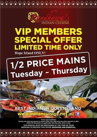 Randhawa's Indian Cuisine: April & May VIP MEMBER'S Special