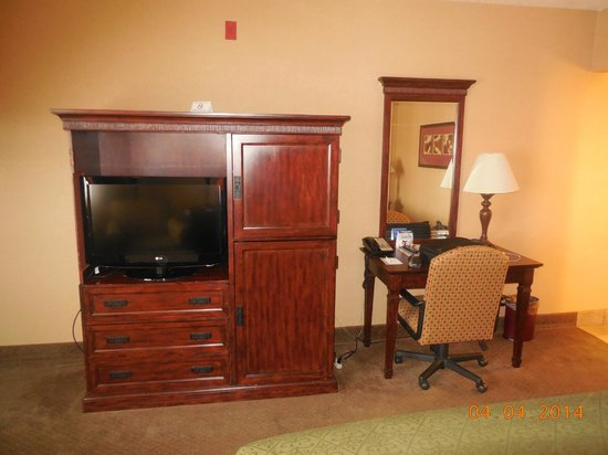 Quality Inn & Suites Airport: Flat screen TV and desk