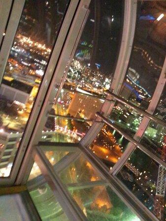 Yokohama Cosmo World : シースルー観覧車の中からの夜景