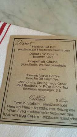 Hopscotch - dessert menu