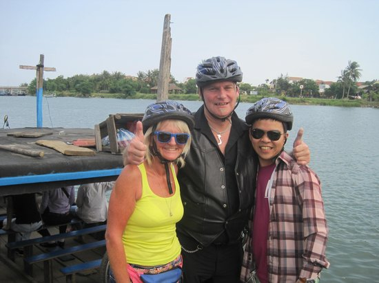 Hoian Cycling: On the ferry to Cam Kim