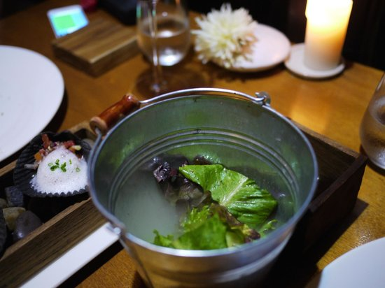 Cuisine De Garden: Salad come in bucket when open the lit, smoke and aroma come out.