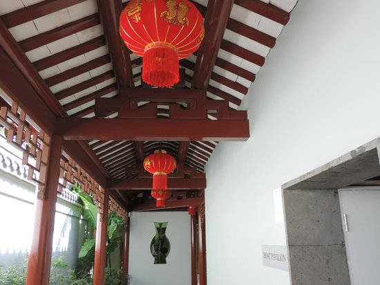 Chinese Garden of Friendship: Lanterns along a passage