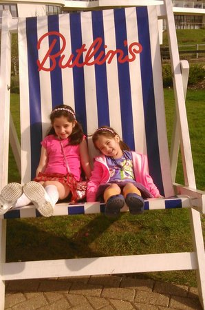 Ocean Hotel at Bognor Regis: My daughters enjoying the famous giant deckchair.
