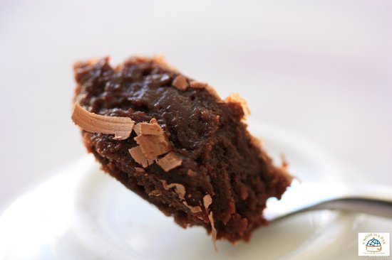 Delicious spoon of Chocolate fondant A world in a Pan