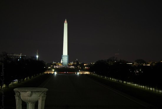 The Washington Monument viewed from the Lincoln Memorial.