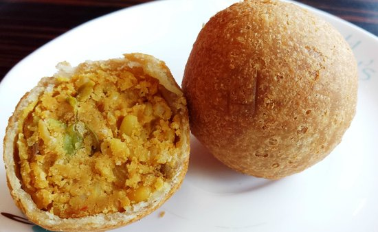Lily's Vegetarian Indian Restaurant: Lentil Kachori, pastry with a filling of spicy crushed lentils