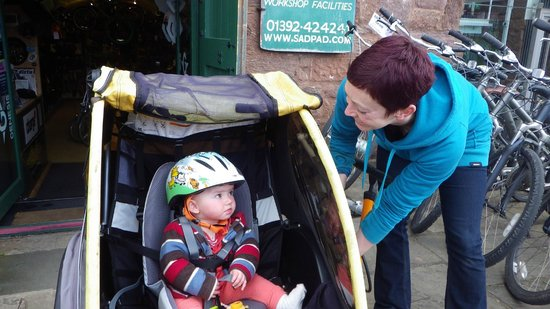 Saddles & Paddles Exeter Ltd: Range of accessories to hire for children, inc trailers and tag-alongs