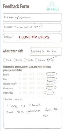 Mr Chips Of Louth Fish Restaurant: Customer Feedback Form