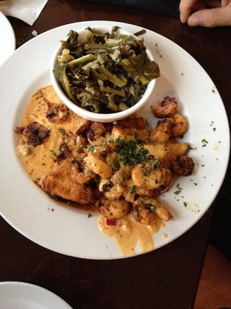 Harry's Seafood Bar and Grille : Shrimp and Scallop Orleans w/ Collard Greens and Fried Grits Cake...Spicy and Delicious!
