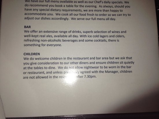 Mortimer Arms Hotel: This is the part of the book advising on children in the restaurant