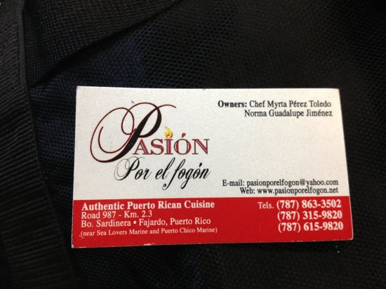 Restaurant Pasion por el Fogon: Business card