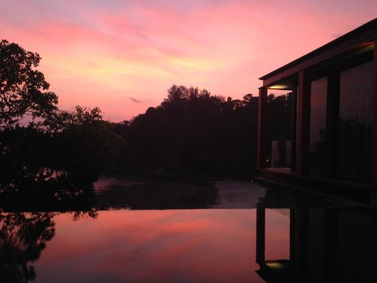 The Naka Phuket: None of these photos have been altered or enhanced. Sunset from our private pool.