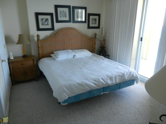 Emerald Isle Resort and Condominiums: Actual Master Bedroom Furniture & linens after cleaning