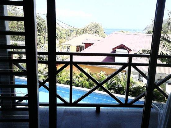 Chambres d'Hotes Amarelao: Vue de la chambre sur la piscine