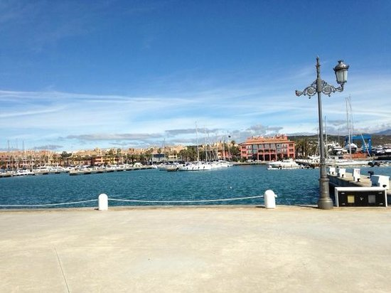 Club Maritimo de Sotogrande: Hotel is the red building across the water, gorgeous!