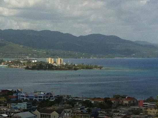 Sunscape Cove Montego Bay: View of the peninsula where the hotel is - to the right of towers