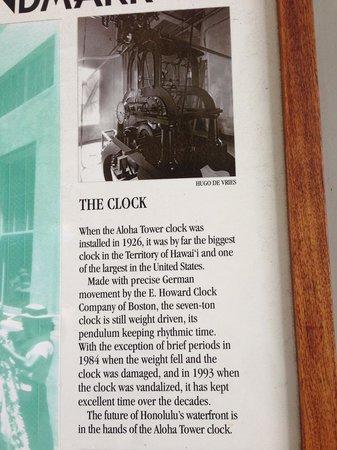 Aloha Tower Marketplace : History of Aloha Tower clock