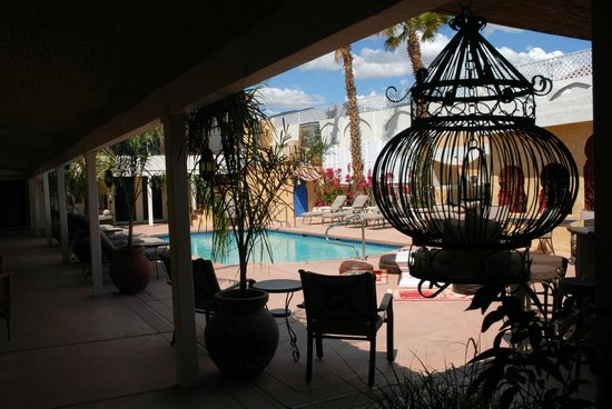 El Morocco Inn & Spa: A peek across the natural warm spring-fed swimming pool...