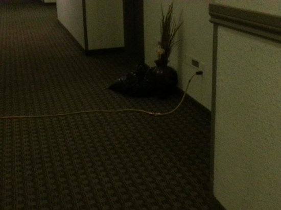 Hi Valley Motor Inn: portable heaters plugged in from hallway