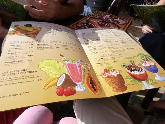 Juan les pins pam pam : La carte des rafraichissements, glaces et cocktails Mmmmm...