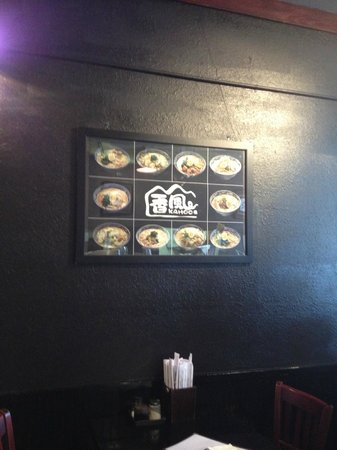 Picture menu on the wall
