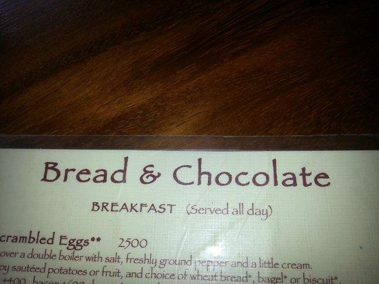 Bread & Chocolate: Menu