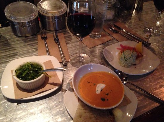 Ona Restaurant and Lounge: From L to R: local seaweed salad, tomato bisque, and locally sourced crab cake w/ no fillers wha