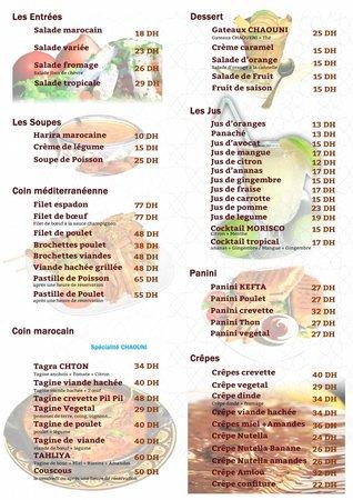 Restaurant Morisco: notre nouveau carte et  tarif bien étudier