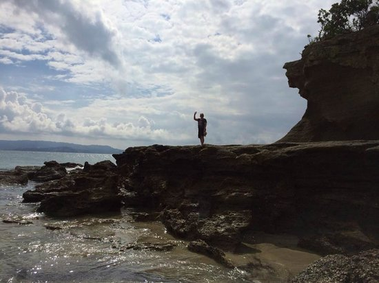 Tawharanui Regional Park: at low tide you can climb up on flat rock