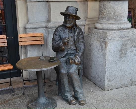 Rynek Główny : Lone drinker in city square.
