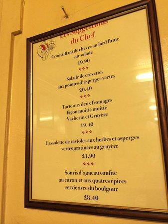 Cafe du Soleil: Menu on the wall