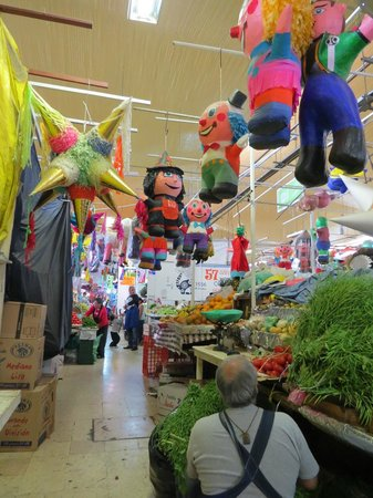Coyoacan: Produce market, with pinatas