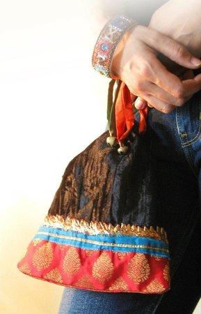 Buzzaria Dukaan: Guthi Bag in Velvet and Brocade