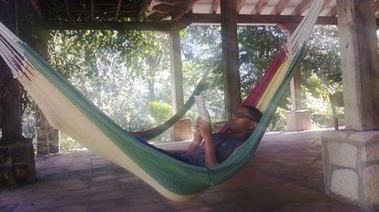 La Villa de Soledad B&B: my son actually reading on his own