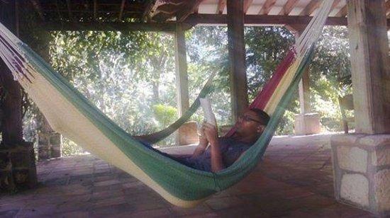 La Villa de Soledad B&B : my son actually reading on his own