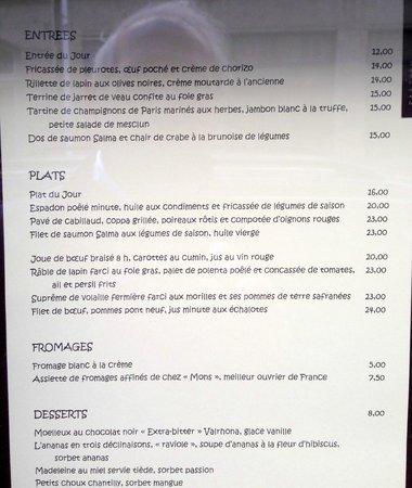 Les Oliviers: menu