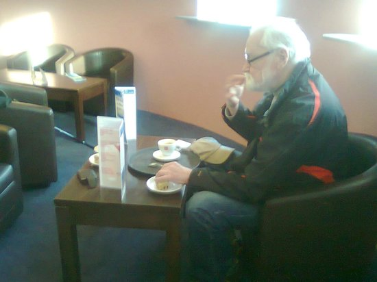 An Lanntair: My uncle Jimmy[in photo] & I in for some sandwiches a piece of carrot cake & teas, Earl Grey for