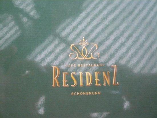 Café Restaurant Residenz: The menu...enter on the left as you enter Palace gates